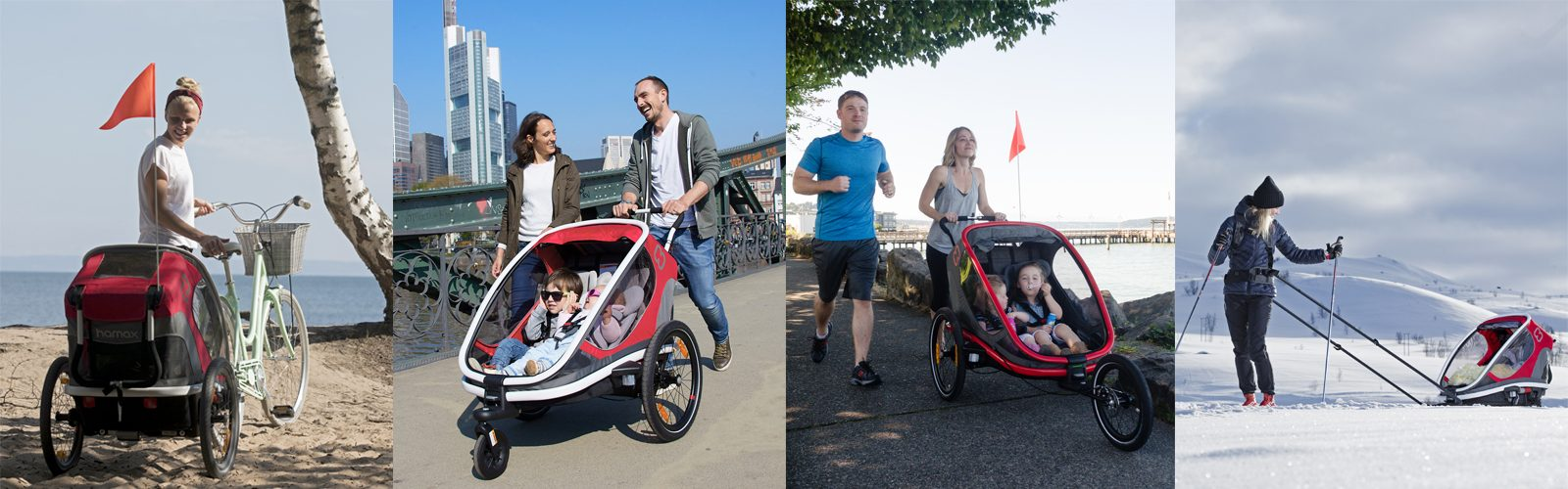 Hamax multifunctional child carrier can be used as biketrailer, stroller, jogger and with skiing kit