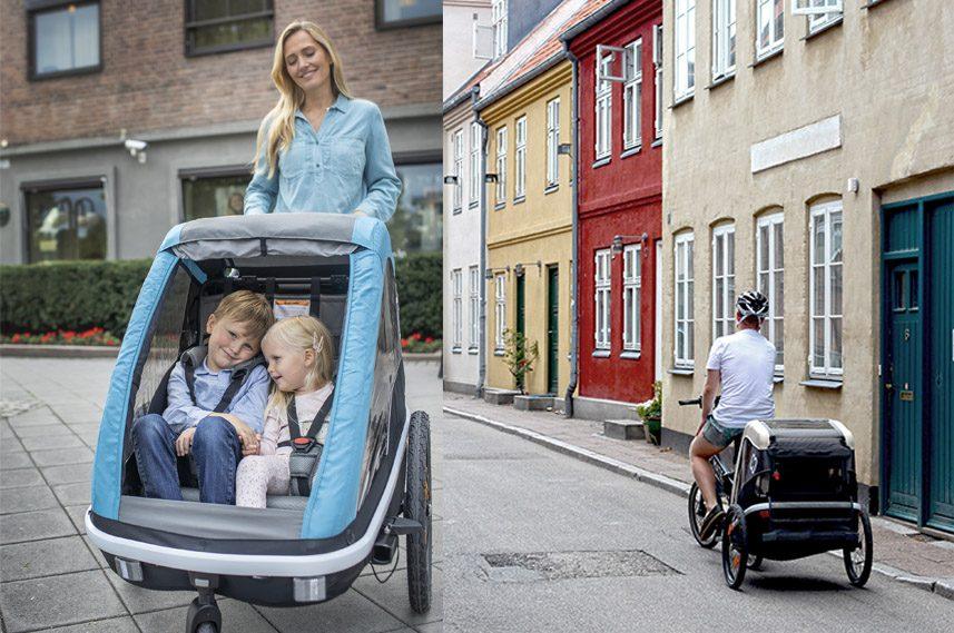 Hamax Avenida biketrailer shown as a biketrailer and a stroller